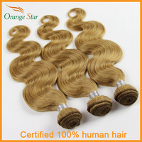 Brazilian Blonde Hair Extensions Body Wave 3/4pcs Strawberry Blonde Human Hair Weave Color 27# Blonde Virgin Hair Weft GB3401
