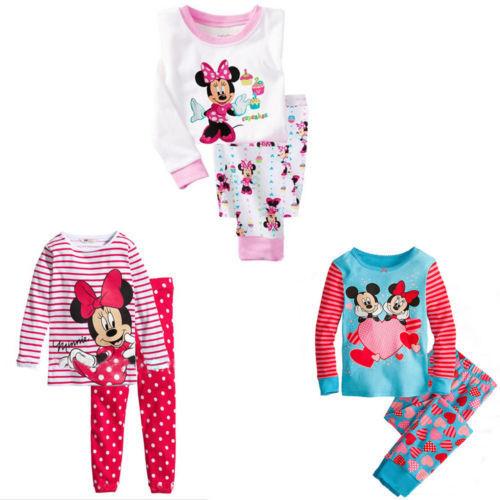 Lovely Cartoon Mouse Tops Pants Suit Baby Girls Nightwear Pajamas Homewear(China (Mainland))