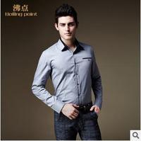 2014 new arrival  Men's brand  fashion casual100% cotton long-sleeve business slim fit dress shirt  M-4XL SIZE PLUS size