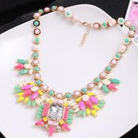 100% New Big Gem Rhinestone Flower Geometry Shape Colorful Resin Gold Chain Choker Statement Necklace Jewelry Women 2014 CS14