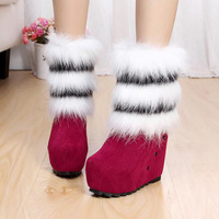 2014 Winter Womens Snow Boots Faux Fur Waterproof High Heels Shoes Warm Boots Female Nubuck Leather Boots XW0362