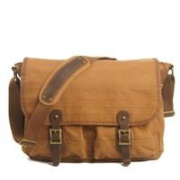 Flap pocket  2 exterior pockets real leather canvas men' shoulder bags men messenger bag sports  brand MC012111