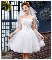 Free shipping short wedding dress white one shoulder