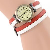Antique casual fashion two-tone belt quartz watch winding bracelet watch long strap leather women dress quartz watch JW1757