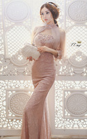 luxury lace embroidery beading slim long Graduation Dresses
