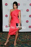 Sexy high quality red one shoulder tea legnth custom made formal celebrity dress design JO9960 kim kardashian red