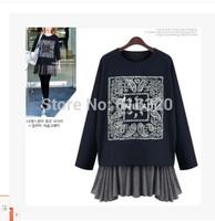 607#8079 Europe Style Two Pieces Dress Loose Sundress + Long Sleeve T Shirt  Green Blue Gray Winter Dress