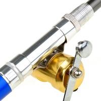"""37"""" Mini Portable Fishing Fish Tackle Pen Kit Rod Pole Reel Combos W/ Line Hooks"""