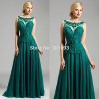 ONE180 Elegant Lace Top Chiffon Backless Emerald Green Evening Dress China