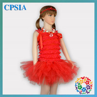 12 sets/lot New Design Christmas Red Petti Lace Top And Tulle Skirt Set Fluffy Baby Girls Ruffle Tutu Skirt