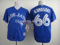 Wholesale baseball blue jays #66 Munenori Kawasaki blue jerseys, please read size chart before order