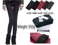 FREE SHIPPING winter Women Bamboo inside Thicken Fur Warm Leggings womens winter clothes plus size pants hot sale 350g 3494