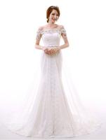 Free shipping vintage wedding dress lace+satin+diamond+pearl tassels