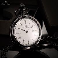 KS White Dial Black Case Antique Style Day Display Roman Numerals Japan Movement Quartz Clock Analog Men Pocket Watch / KSP025