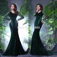 ONE176 Elegant Mermaid Emerald Green Long Sleeve Velvet Evening Dresses China