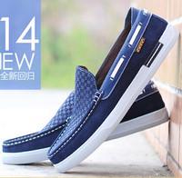 2014 Free shipping brand men spring moccasin slip on men platform loafers huarache espadrilles men flat driving canvas shoes
