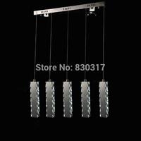 Pendant Light K9 Crystal Mirror stainless steel International cable Hanging 4 Heads Long Rentangle design lamp Samsung LED
