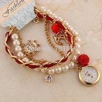 Pearl Bracelet Watch Rudder Anchor Viking Age Lady Quartz Watch Artificial pearls Women Rhinestone Watches