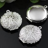 DIY 27mm Necklace Pendants,Copper Silver Plated Pendant European style Prayer Craft Photo Frame Locket Box