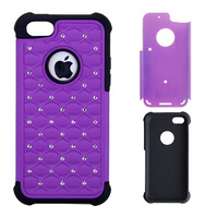 Zeitop 2 in 1 Combo Hybrid Case Glitter/bling Diamond Dual Layer Pc&silicone Protective Case for iPhone 5 5s Free shipping