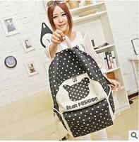 Cute bear polka dot print New Women 2014 Cartoon Cat Ear Shoulder Bag Men Canvas Backpacks Travel Hiking Bags