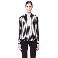 L3158 woman black and white stripe deep v formal shirt striped women's long shirt long sleeve fall blouse