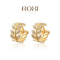 ROXI 2015 Fashion Women 14K Yellow Gold Salix Leaf Earrings Newest Fashion Jewelry