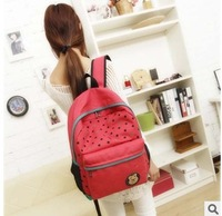 Polka dot print canvas bag lovely bear Lady Student School Travel bags fashion Women's Colorful Canvas Backpacks