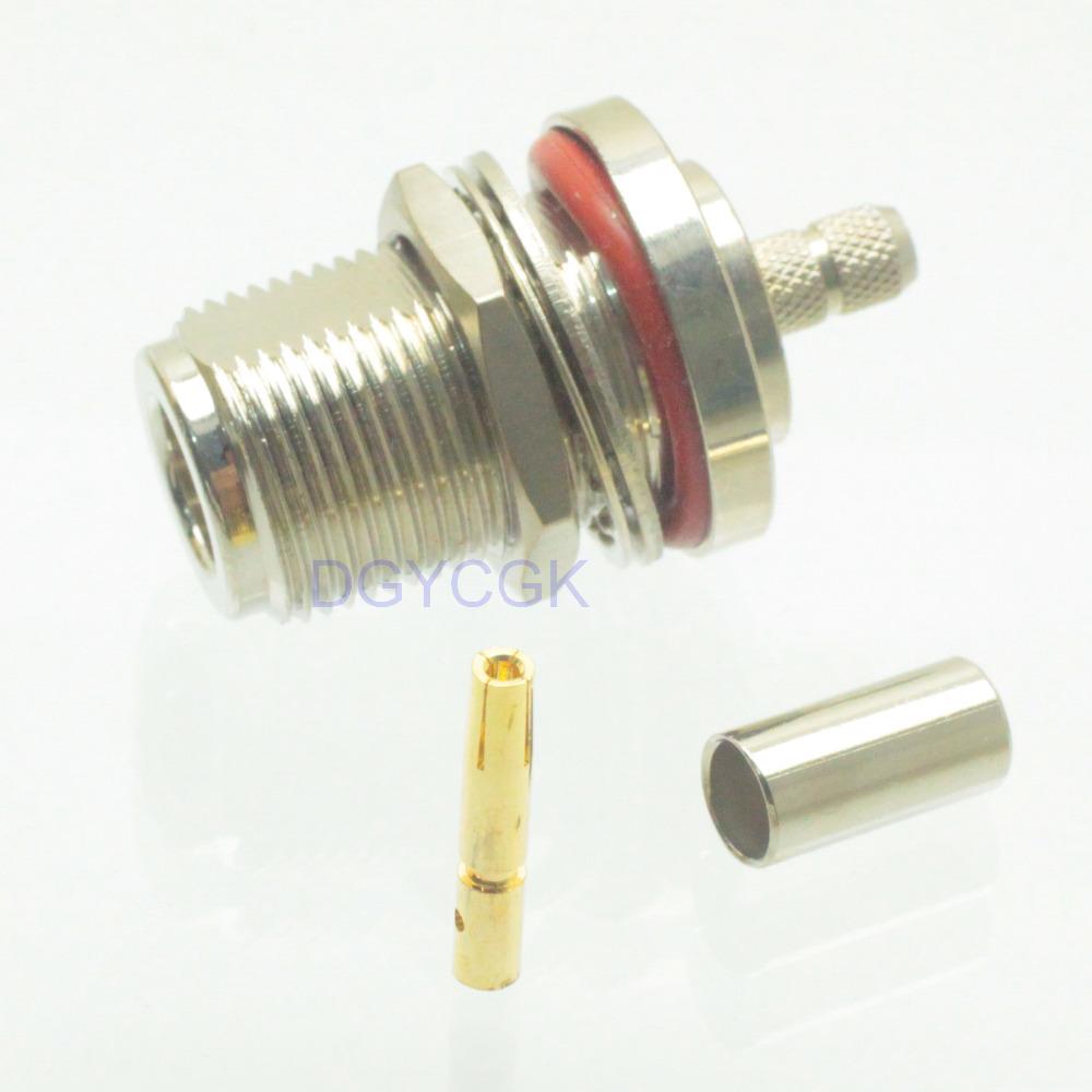10pcs N female nut bulkhead crimp RG58 RG142 LMR195 RF connector(China (Mainland))