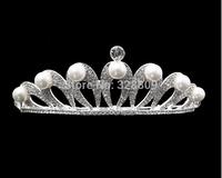 rhinestone crystal bridal tiaras pearl  wedding crown hair wear jewelry wedding hair accessories