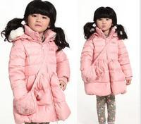 2014 Fashion Winter down jacket girl for winter Lovely Dot Turtleneck Kids Duck Down Coat Children Clothing