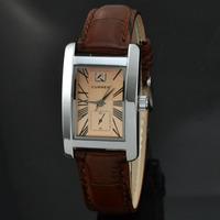 Brand Curren 8122 Rectangle Watch Women Brown Leather Strap Analog Quartz Watch Women Fashion Dress Watches Relogio Rolojes