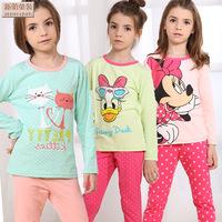 2014 Pyjamas Pijama Infantil Children's Underwear Suits Cotton Pajamas Baby Boy Girl Autumn Clothes Long Dazhong Child Nightgown