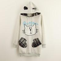 [Magic] lovely cat cartoon hoodies winter new style with hoody cotton sweatshirts for women patch fail pocket warm sweatshirts