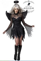 free shipping hot selling 2014 new arrival wholesale women devil cosplay costume Black Angel Halloween costume 5184