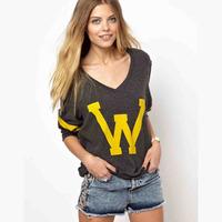 2014 Women Fashion New Arrival Big W Letters Drak Gray V-Neck Long Sleeve Pullover Sweatshirts WE532