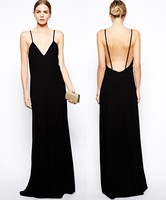 2014 Free shipping Fashion sexy  black color floor-length v-neck dress . Party dress