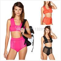 Sexy Women Mesh Bandage Swimsuit Bikini Set Hollow High Waist Beach Suit , Retro Biquinis For Women