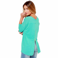 2014 Fashion Women Solid Hoodies Long Sleeve O-Neck Back Zipper Open Fork Pullover Sweatshirts WE533