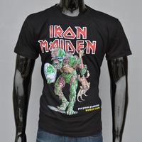 4M269 3d print 100% cotton Iron maiden skull pattern free shopping O-Neck fashion t shirt black men t shirt