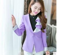 terno feminino XL 2014 Autumn Spring Blazer Women Work Wear Classic Candy Color OL Single Button Casual Outwear Blazer Feminino