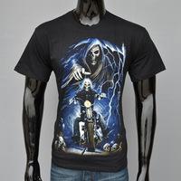 4M208 3d print men t shirt 100% cotton soul rider death Hot models new design for t-shirt 2014 new style men/women 3D t shirt