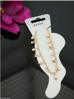 NEW ARRIVALS! FASHION STYLE F20 GOLD PLATED ANKLE CHAINS WOMEN SEXY CHAINS JEWELRY 2 COLORS