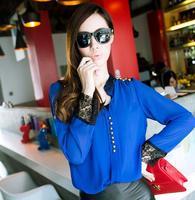 2015 Women Fashion Long Sleeve Lace Patchwork Chiffon Shirt, Elegant Asymmetrical Mandarin V-Neck Blouse Button Tops