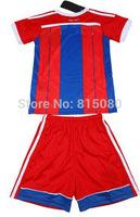 Top qualityROBBEN 10 RIBERY 7 LAHM 21 SHAQIRI 11 kids boy Soccer sport Jersey 14/15,Embroidery Logo  Soccer Shirt&short