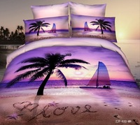 Coconut tree duvet quilt comforter cover  sheet  king queen  sailboat 100% cotton  autumn bedding set  pearl lily  bed set