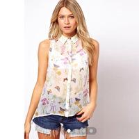 L3208 woman butterfly flower print blouse sleeveless turn down collar sweet women's shirt causal woman tops