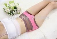 FREE SHIPPING solid bamboo fiber sexy lace high waist briefs women