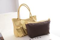 Luxury new 2014 Knitted Women Handbag Fashion Vintage Big Capacity Women Leather Handbags Gold Color Women Messenger Bags Totes