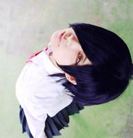Tokyo Ghoul Kirishima Touka Blue Purple Short Straight Anime Cosplay Hair Wig.Heat Resistance Cos Wig